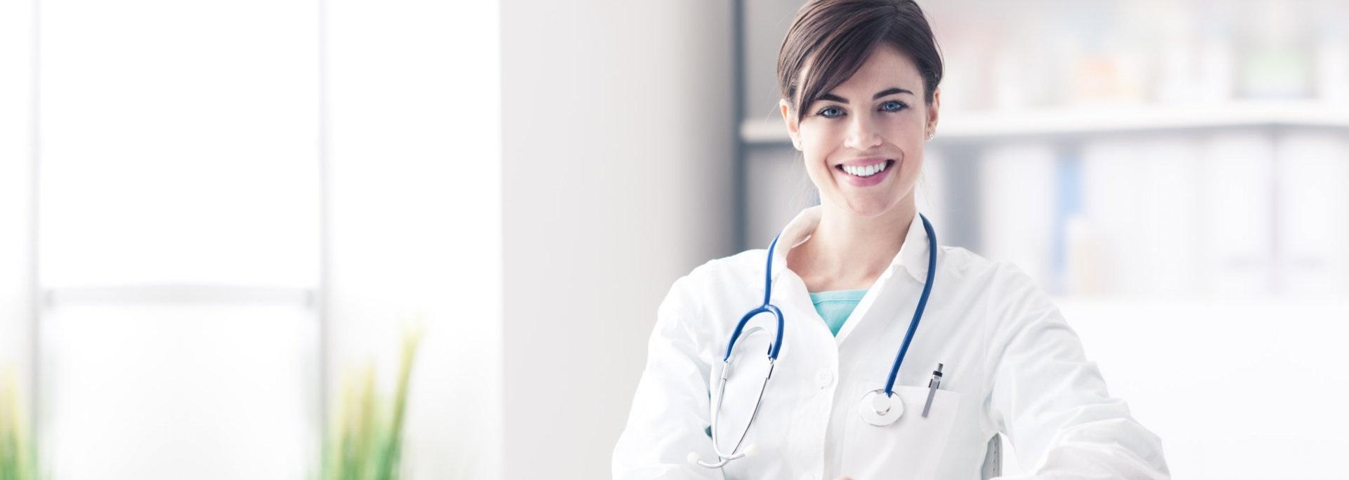 female doctor wearing her stethoscope